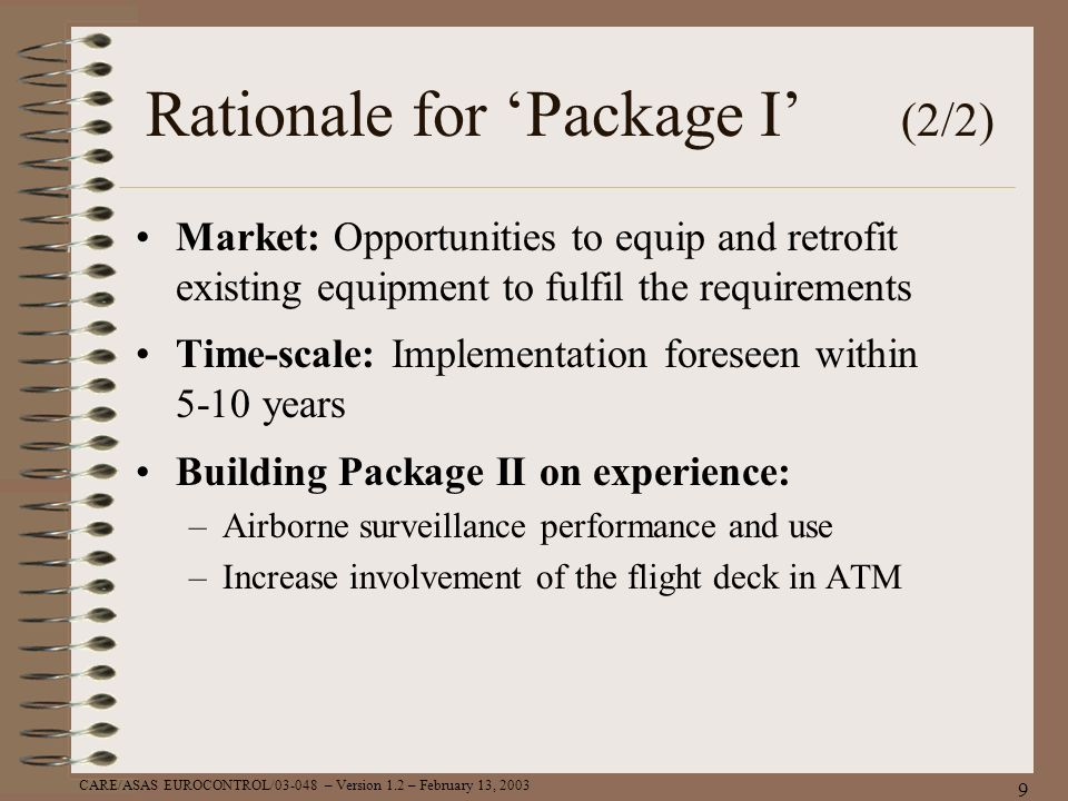 Rationale for 'Package I' (2/2)