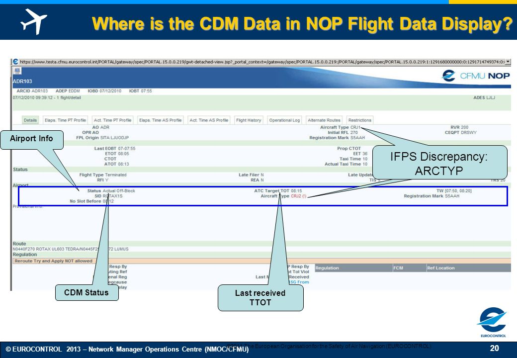 Where is the CDM Data in NOP Flight Data Display