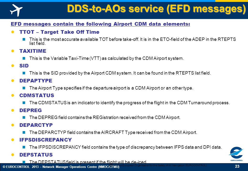 DDS-to-AOs service (EFD messages)