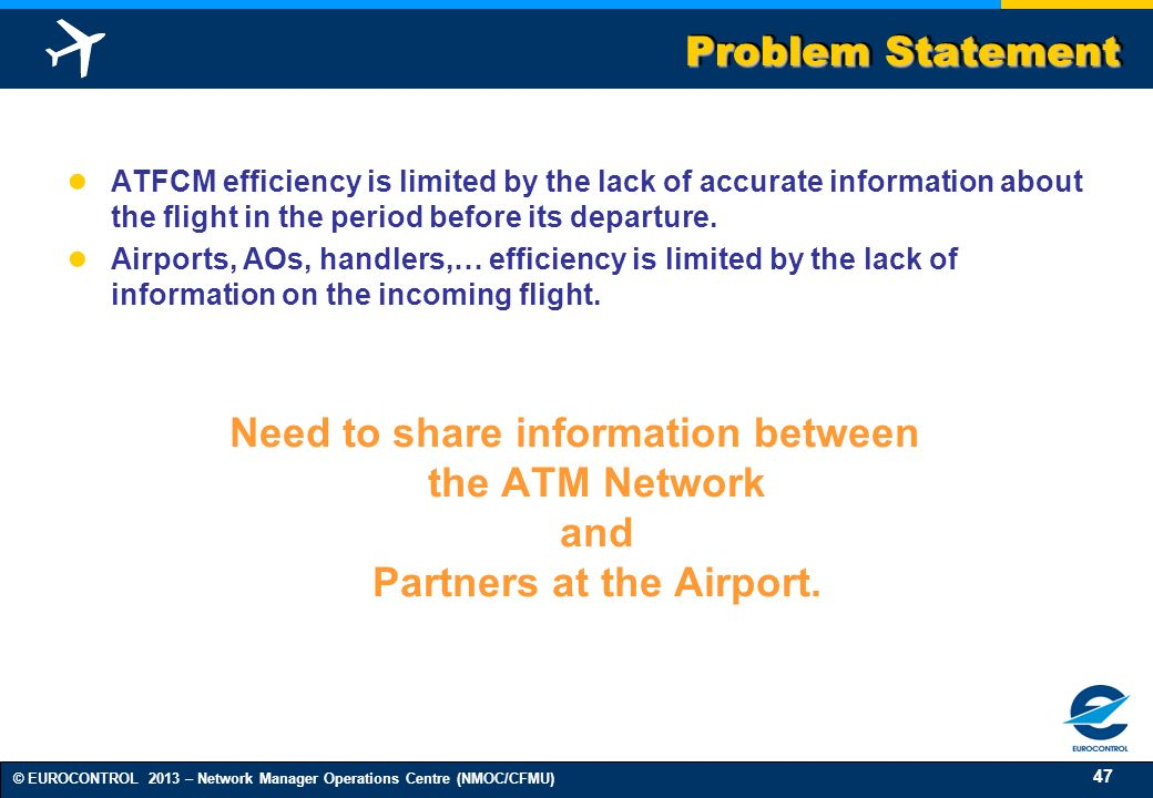 Problem Statement ATFCM efficiency is limited by the lack of accurate information about the flight in the period before its departure.