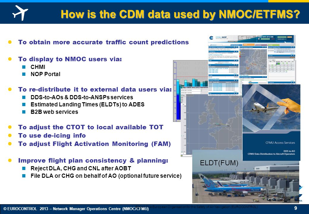 How is the CDM data used by NMOC/ETFMS