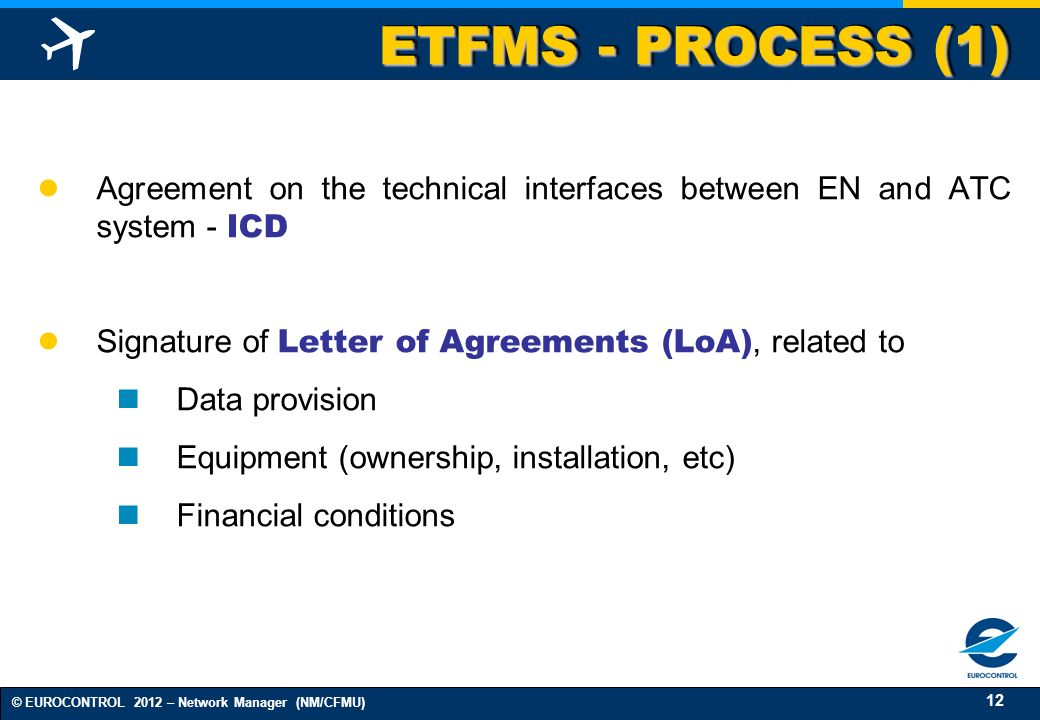 ETFMS - PROCESS (1) Agreement on the technical interfaces between EN and ATC system - ICD. Signature of Letter of Agreements (LoA), related to.