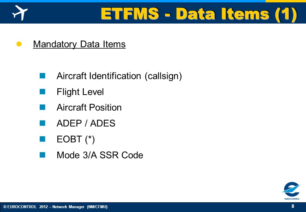 ETFMS - Data Items (1) Mandatory Data Items