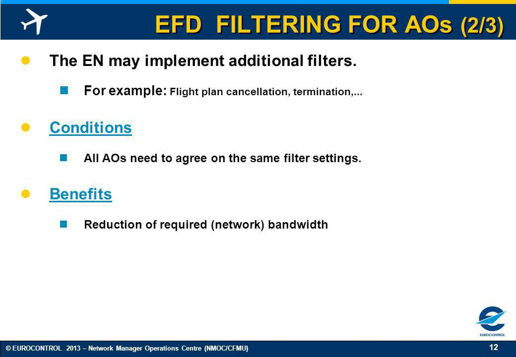 EFD FILTERING FOR AOs (2/3)