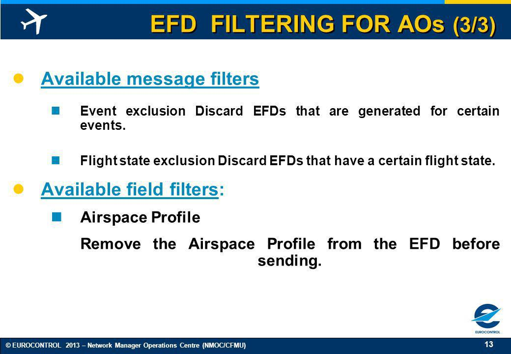 EFD FILTERING FOR AOs (3/3)