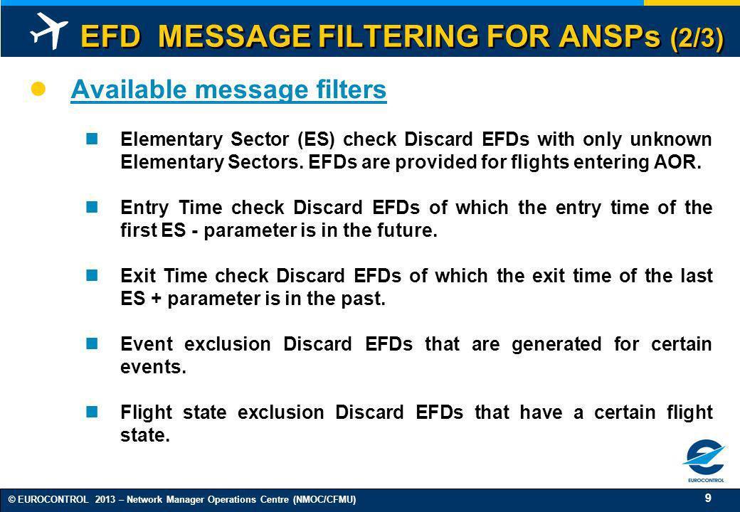 EFD MESSAGE FILTERING FOR ANSPs (2/3)