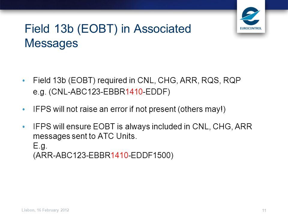 Field 13b (EOBT) in Associated Messages