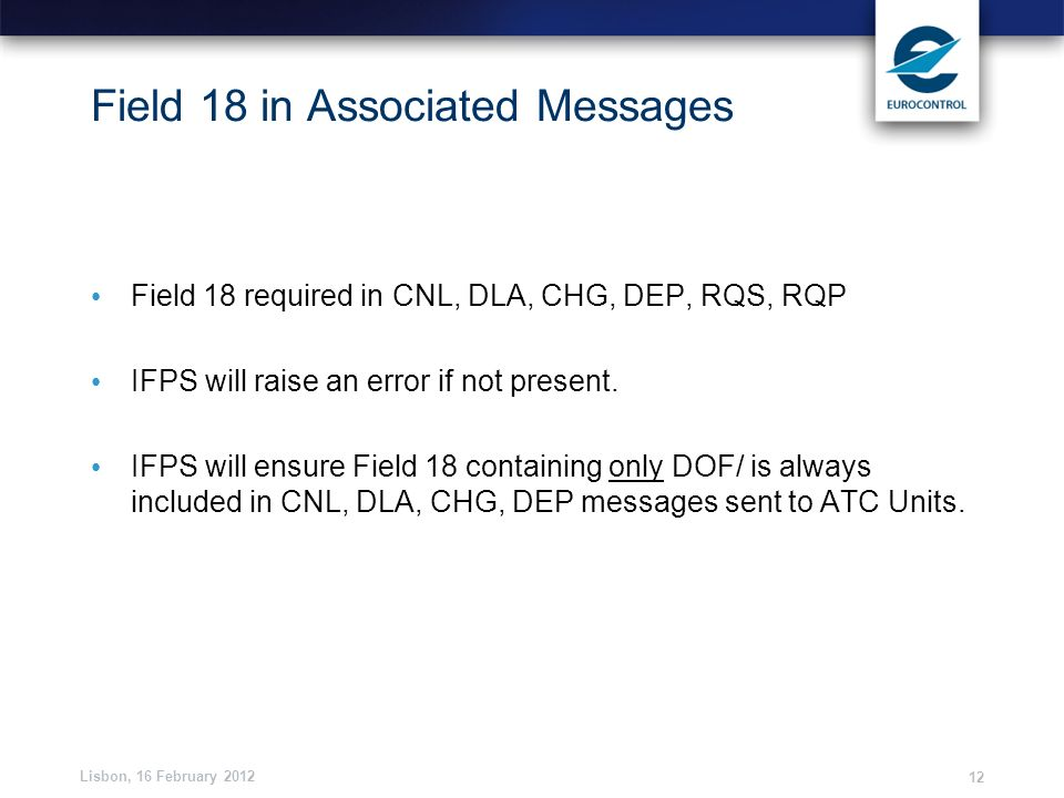 Field 18 in Associated Messages