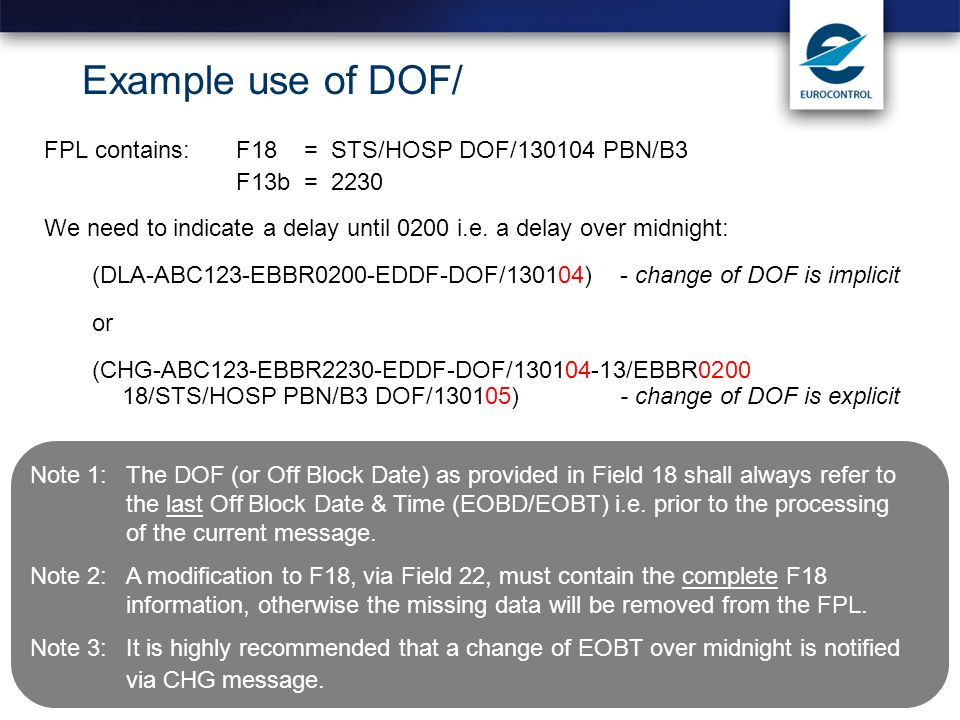 Example use of DOF/ FPL contains: F18 = STS/HOSP DOF/130104 PBN/B3
