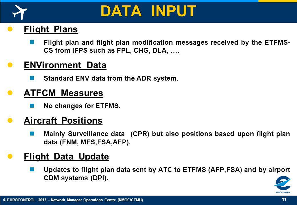DATA INPUT Flight Plans ENVironment Data ATFCM Measures