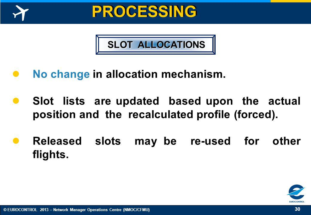 PROCESSING No change in allocation mechanism.