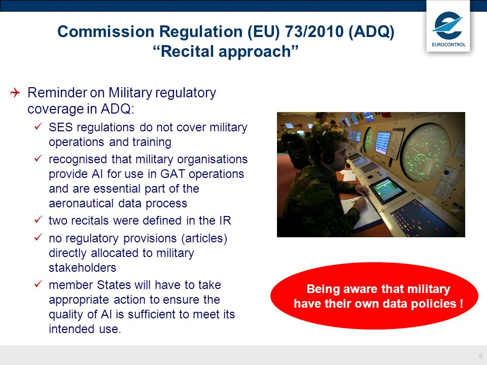 Commission Regulation (EU) 73/2010 (ADQ) Recital approach