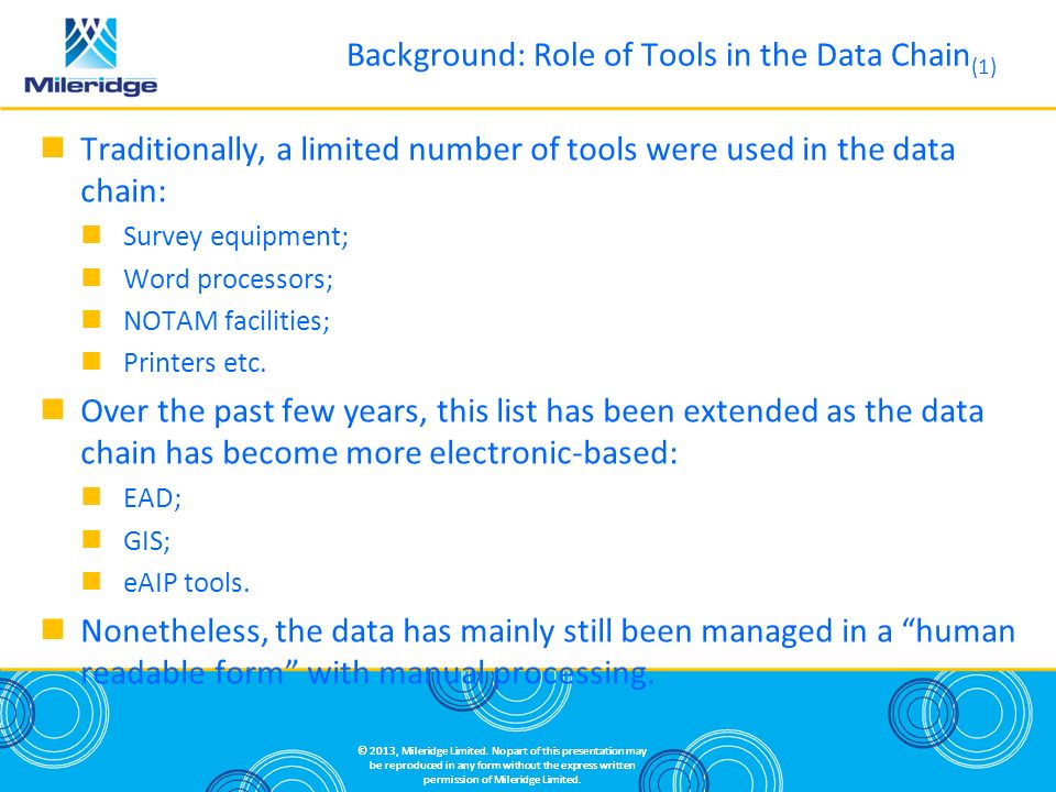 Background: Role of Tools in the Data Chain(1)