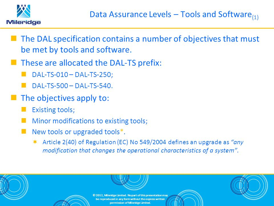 Data Assurance Levels – Tools and Software(1)