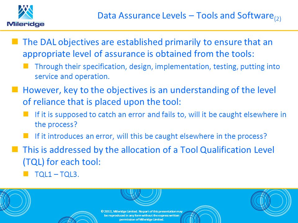 Data Assurance Levels – Tools and Software(2)