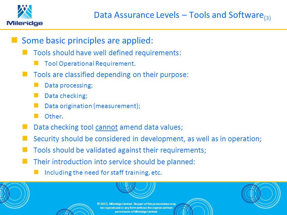 Data Assurance Levels – Tools and Software(3)