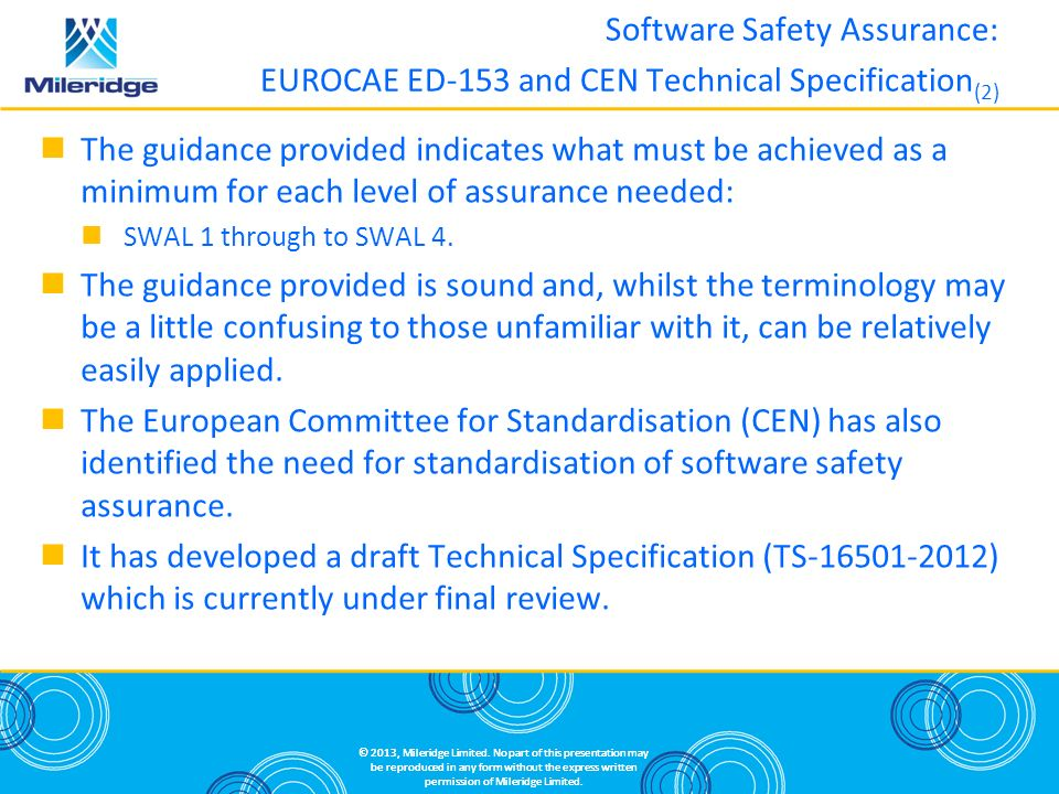 Software Safety Assurance: EUROCAE ED-153 and CEN Technical Specification(2)