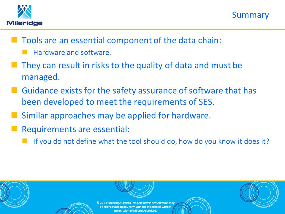 Tools are an essential component of the data chain: