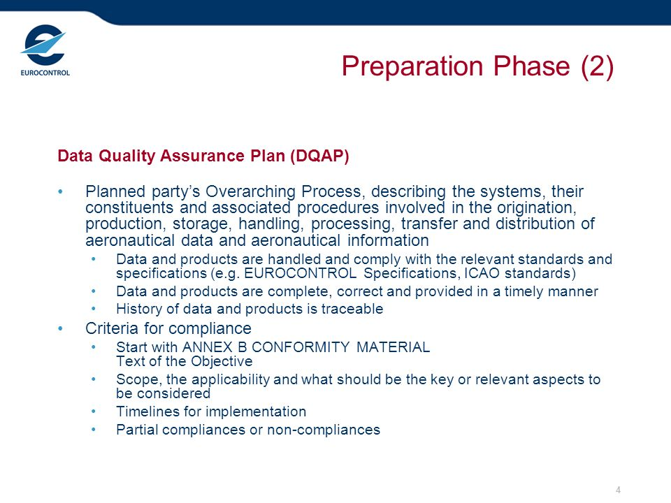 Preparation Phase (2) Data Quality Assurance Plan (DQAP)