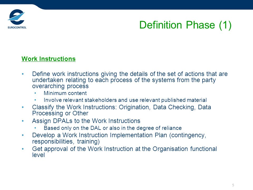 Definition Phase (1) Work Instructions