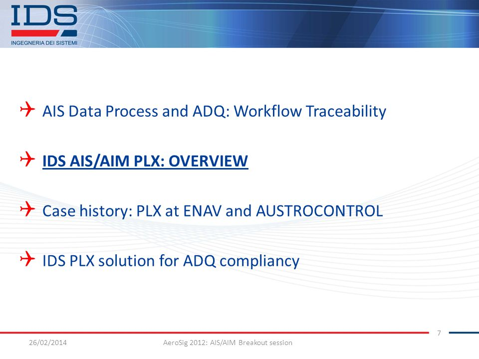 AeroSig 2012: AIS/AIM Breakout session