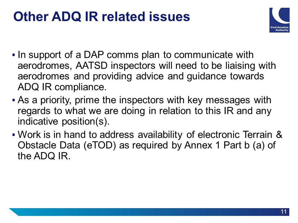 Other ADQ IR related issues