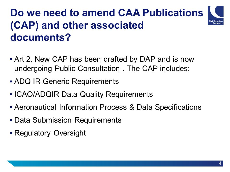 Do we need to amend CAA Publications (CAP) and other associated documents