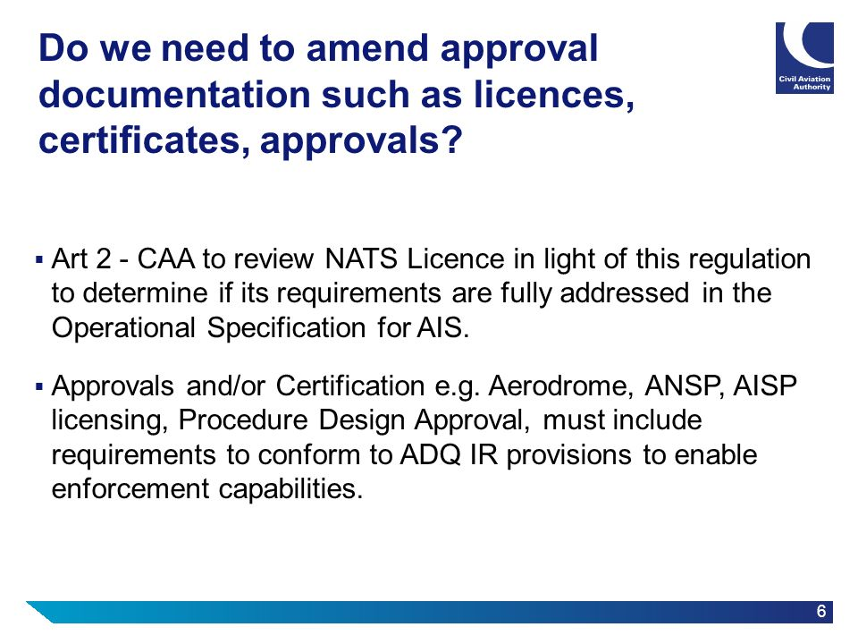 Do we need to amend approval documentation such as licences, certificates, approvals