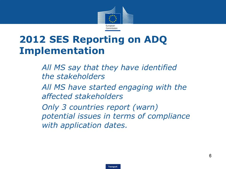 2012 SES Reporting on ADQ Implementation
