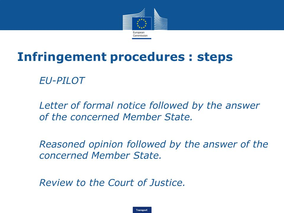 Infringement procedures : steps