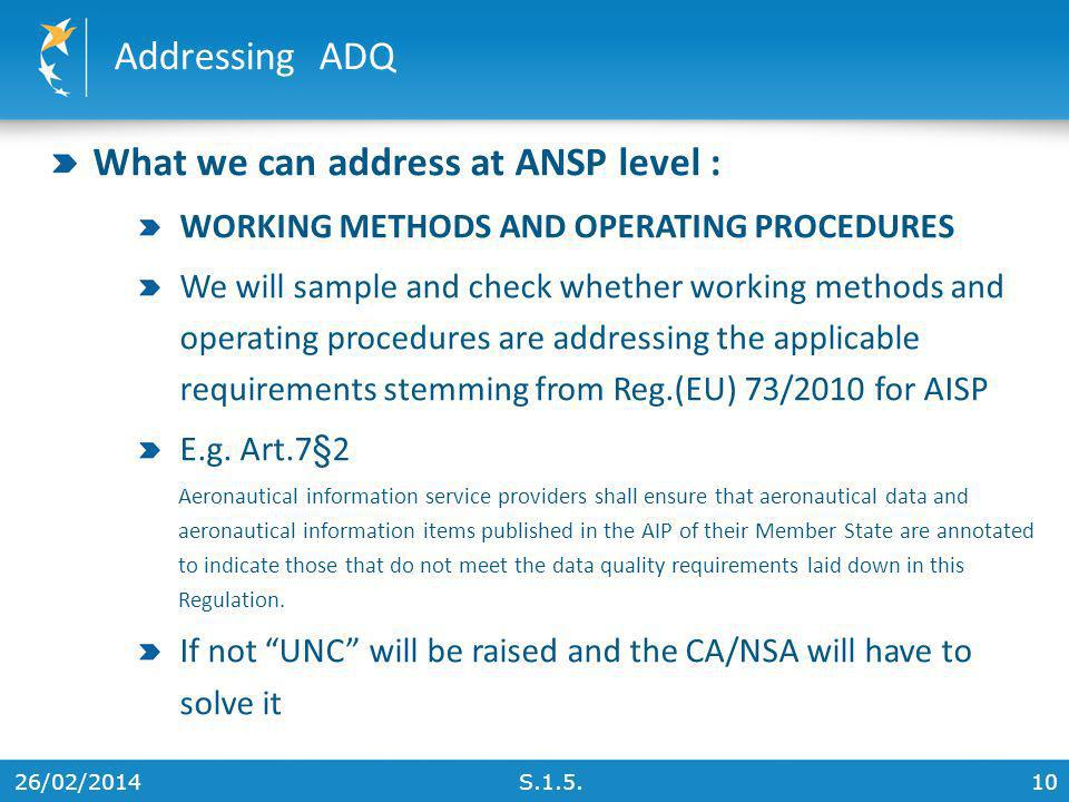 What we can address at ANSP level :