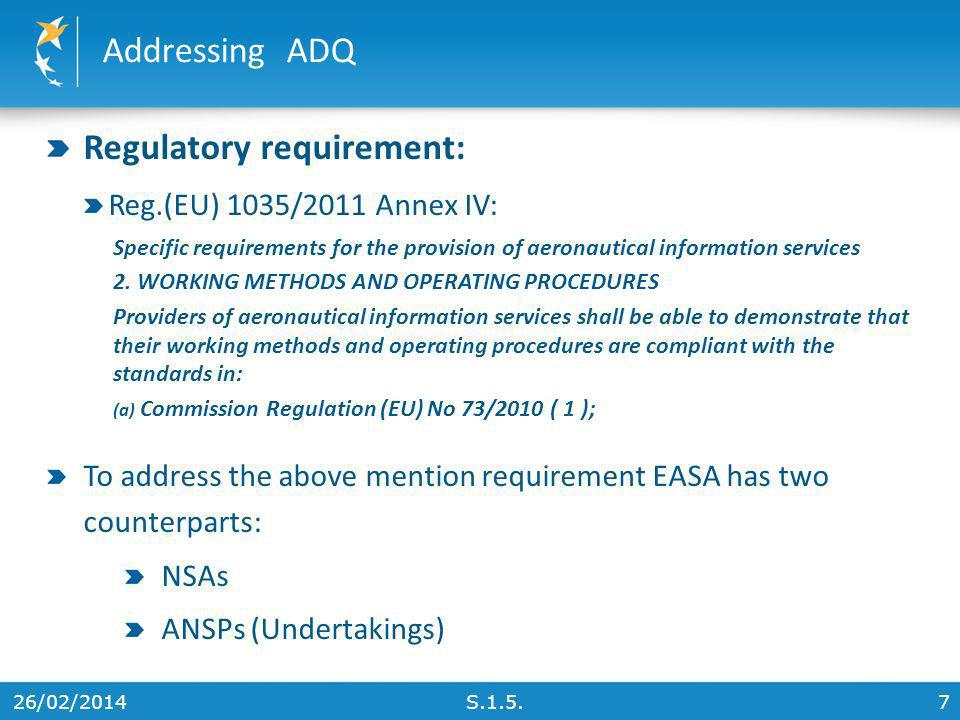 Regulatory requirement:
