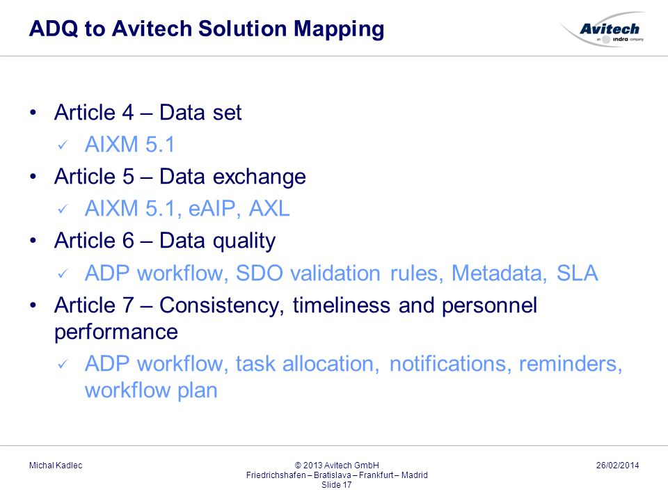ADQ to Avitech Solution Mapping