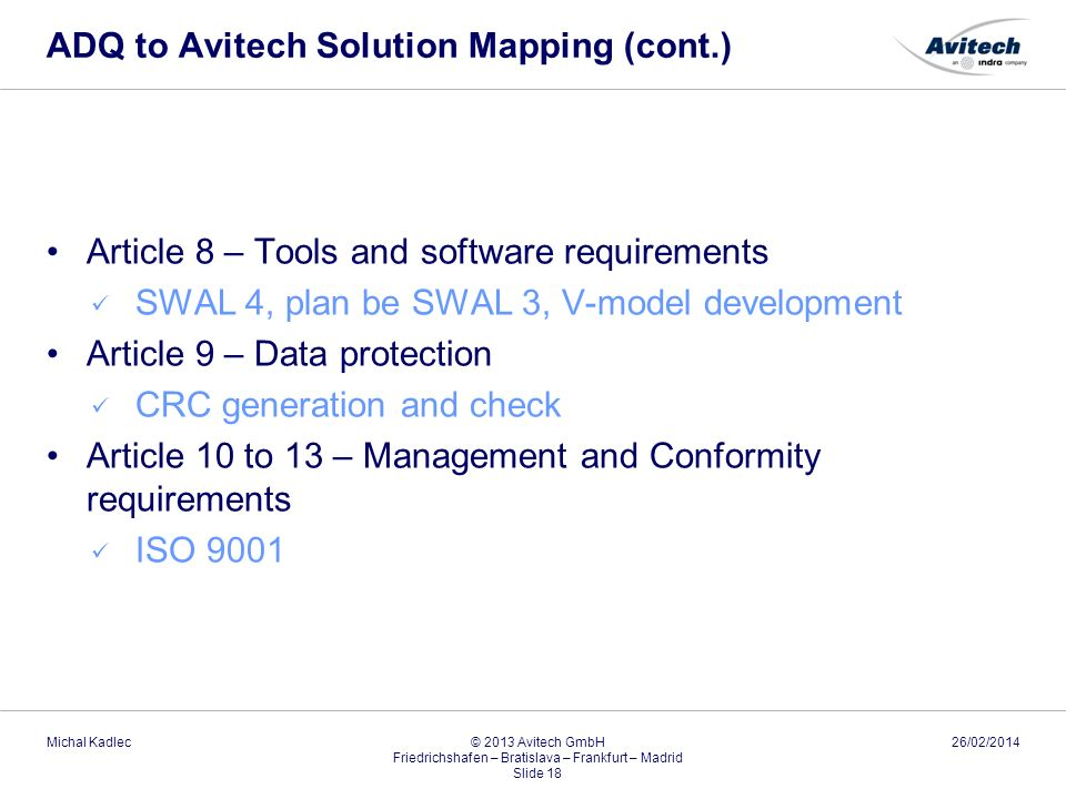 ADQ to Avitech Solution Mapping (cont.)