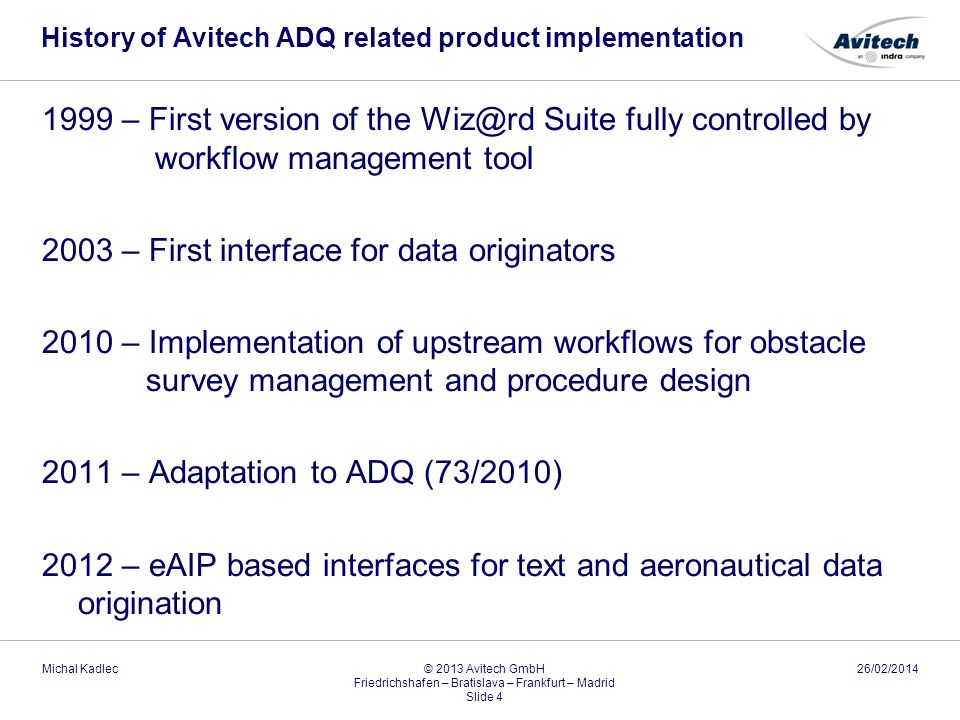 History of Avitech ADQ related product implementation