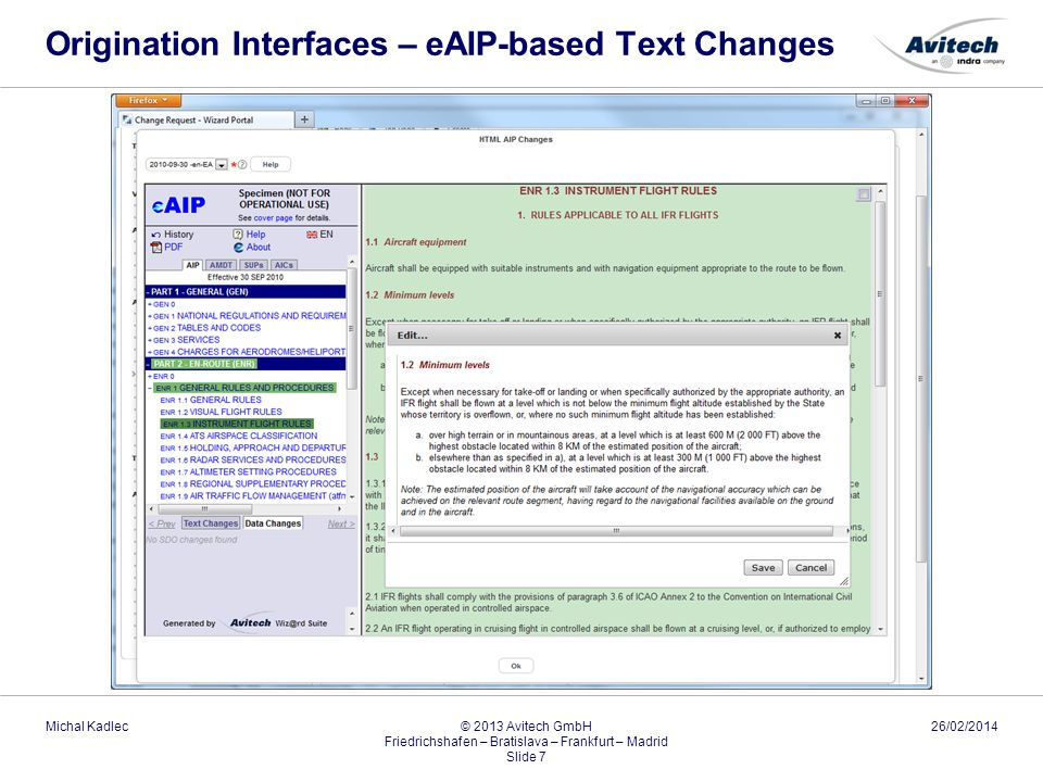 Origination Interfaces – eAIP-based Text Changes