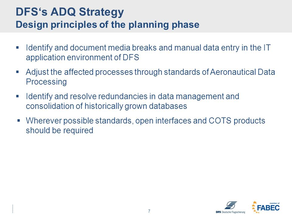 DFS's ADQ Strategy Design principles of the planning phase