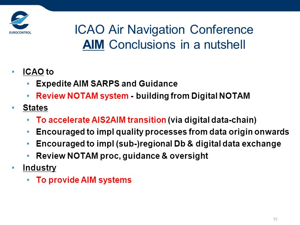 ICAO Air Navigation Conference AIM Conclusions in a nutshell