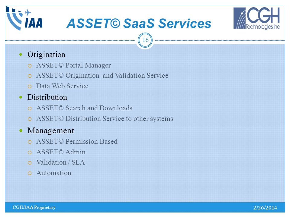ASSET© SaaS Services Management Origination Distribution