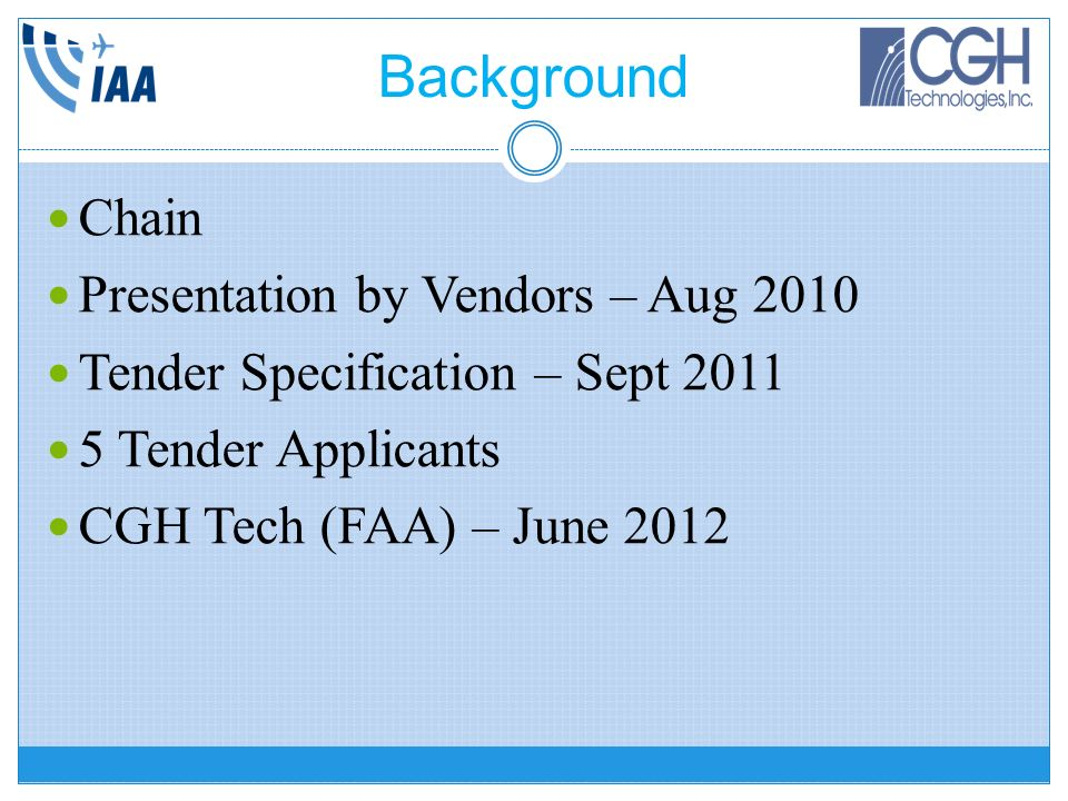Background Chain Presentation by Vendors – Aug 2010
