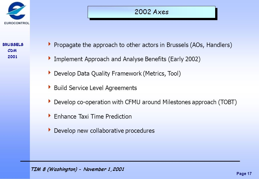 2002 Axes Propagate the approach to other actors in Brussels (AOs, Handlers) Implement Approach and Analyse Benefits (Early 2002)