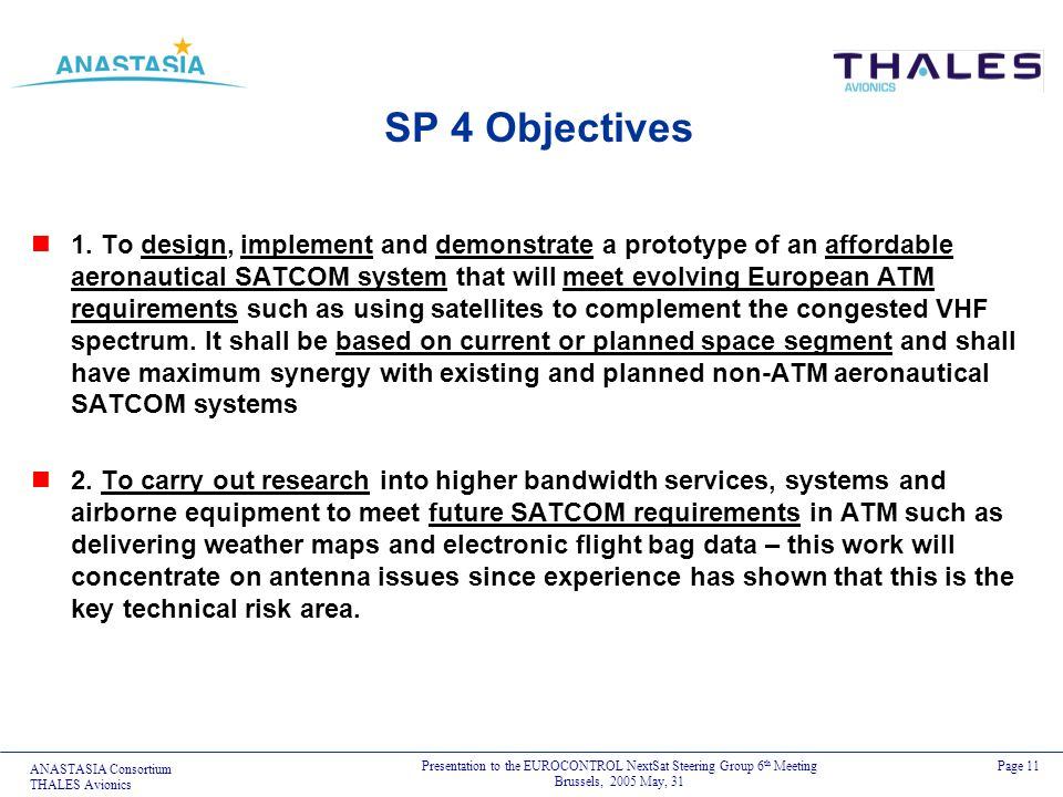 SP 4 Objectives