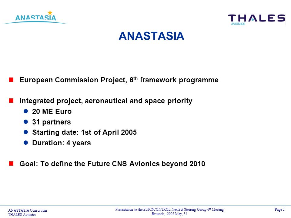 ANASTASIA European Commission Project, 6th framework programme
