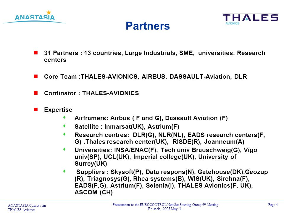 Partners31 Partners : 13 countries, Large Industrials, SME, universities, Research centers.