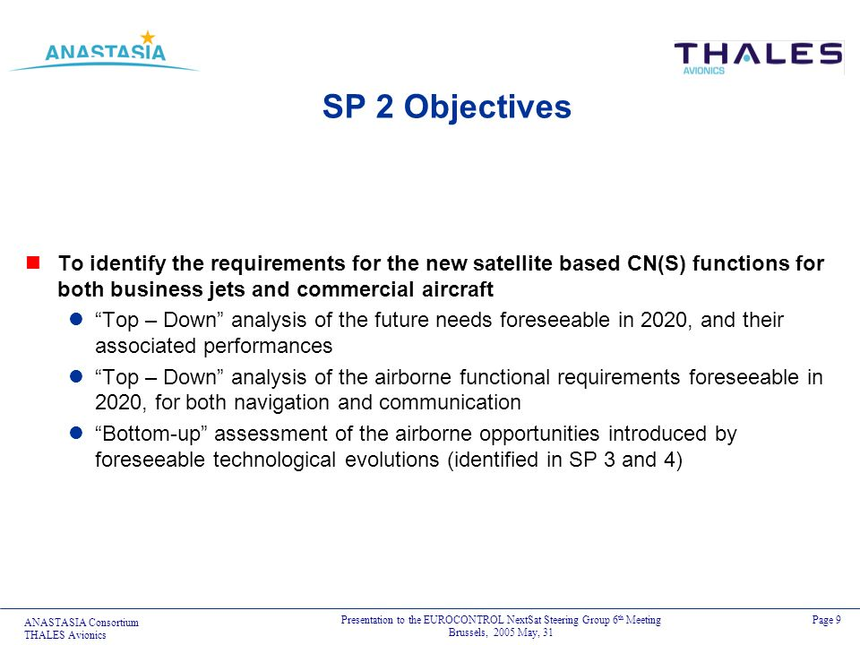 SP 2 ObjectivesTo identify the requirements for the new satellite based CN(S) functions for both business jets and commercial aircraft.