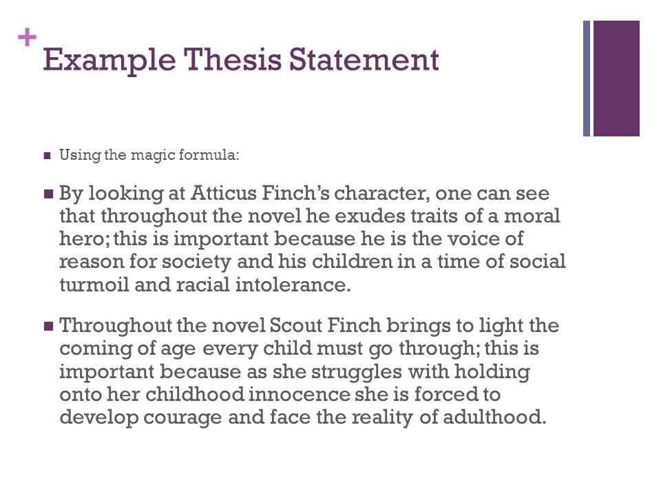 thesis sentences for to kill a mockingbird Good samples of to kill a mockingbird thesis statement for college and high school list of examples of thesis statement for essay and research papers on to kill a mockingbird.