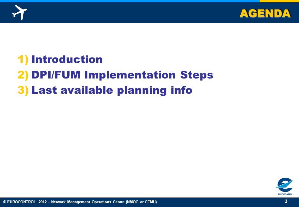 AGENDA Introduction DPI/FUM Implementation Steps Last available planning info
