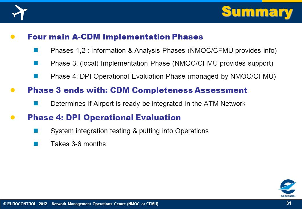Summary Four main A-CDM Implementation Phases