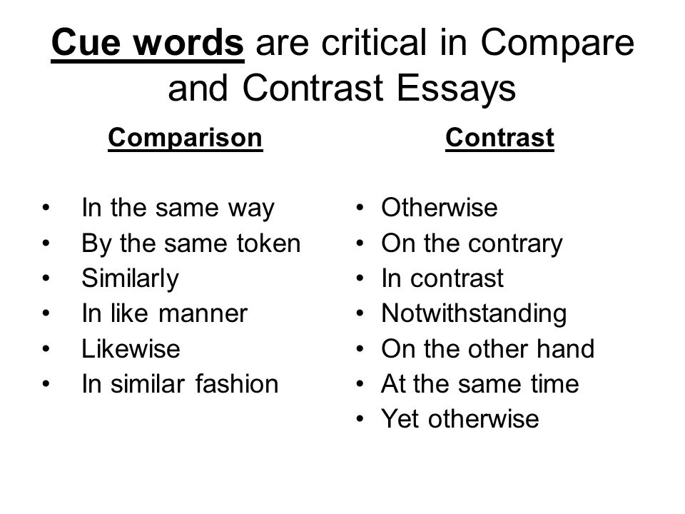 compare and contrast the way t essay Here you can find the main tips on how to write a winning compare and contrast essay characteristics to compare and contrast the two subjects the second way.