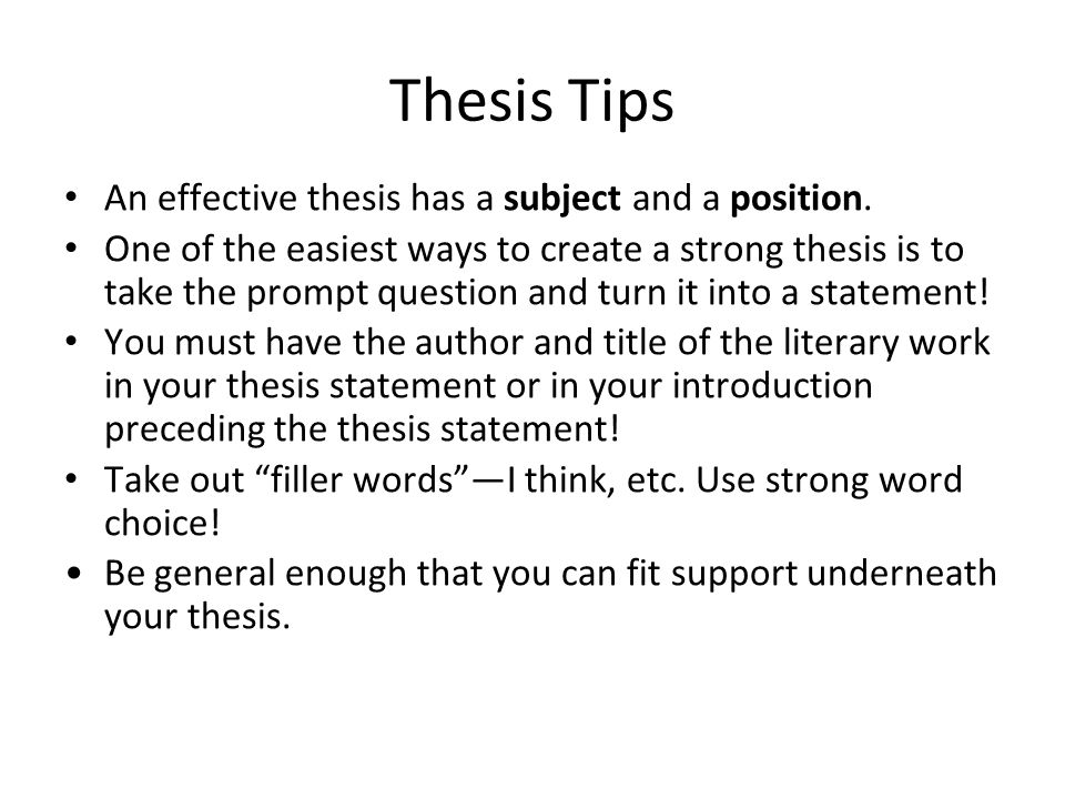 creating a strong thesis